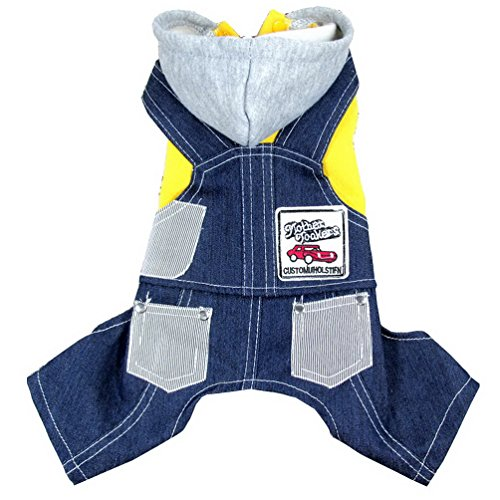 PET CONDO Pet Cat Dog Coat Jumper Jumpsuit Jeans Hoodie Hooded Small Dog Clothes Sweaters Yellow (Photos Of Pets In Halloween Costumes)