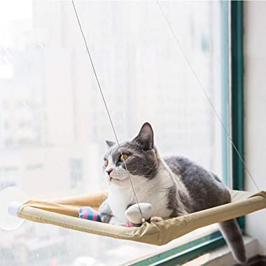OthoKing Cat Hammock, Cat Window Perch Sunny Seat with Suction Cups Cat Bed Saving Space All Around 360°Sunbath for Cats