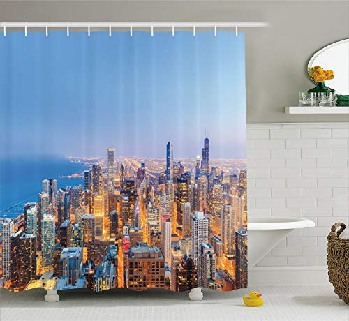 Ambesonne Chicago Skyline Shower Curtain, Aerial View of Town with Michigan Lake Vibrant City Panorama Evening Time, Cloth Fabric Bathroom Decor Set with Hooks, 70 inches, Blue Orange (Best Michigan Small Towns)