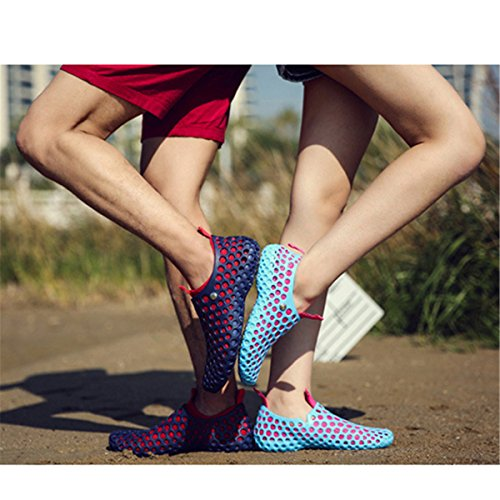 gracosy Women Men Water Shoes Breathable Beach Shoes Summer Slip On Casual Outdoor Quick Drying Aqua Shoes Mesh Clog Hollow Out Soft Sole Flat Walking Pool Sandals Slippers Blue+red KfPrB