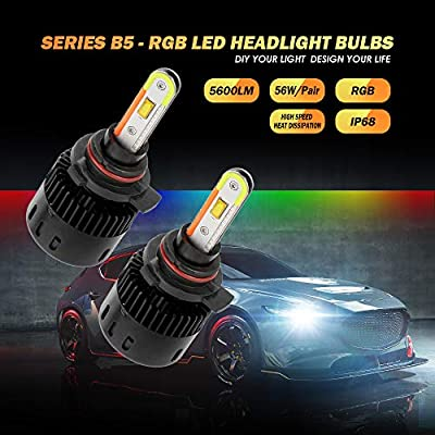 Auxbeam 9012 RGB LED Headlight Bulb COB Chips, Daytime Running Lights 5600 Lumens 56W Multi-color, Mobile APP Bluetooth Control, Pack of 2: Automotive