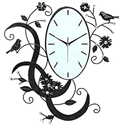 MyGift Birds & Flowers Design Black Metal Analog Wall Clock/Wall Mounted Decorative Accent with Rhinestones