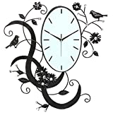 Birds & Flowers Design Black Metal Analog Wall Clock / Wall Mounted Decorative Accent with Rhinestones Review
