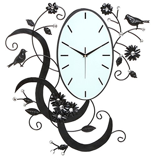 MyGift Birds Flowers Design Black Metal Analog Wall Clock Wall Mounted Decorative Accent with Rhinestones