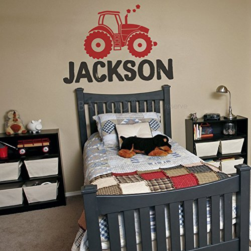 Farm Room Decor - BATTOO Personalized Name Wall Decal, Custom Name Tractor Wall Sticker Vinyl Decal 30