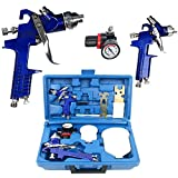 spray guns compressor - YaeTek 0.8 & 1.4 Nozzle Paint Base Primer HVLP 2-Spray Guns Kit Gauge Auto Gravity Feed