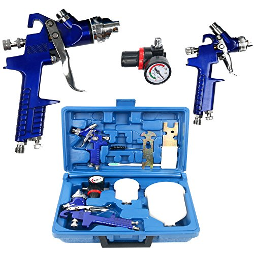YaeTek 0.8 & 1.4 Nozzle Paint Base Primer HVLP 2-Spray Guns Kit Gauge Auto Gravity Feed (2 Gun Kit)