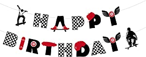 Happy Birthday Banner, Extreme Skateboard Birthday Party Supplies Decoration, Theme Party for Skateboarder for Skater Boys and Girls Birthday Party Decor