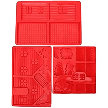 Gingerbread House Silicone Mold Kit - Includes 3 Molds to Create Gingerbread House, Snowman, Tree, Reindeer, Sleigh, Santa Claus, & Present - 3 Piece Set - Red - 14 x 10 x 0.5 inches