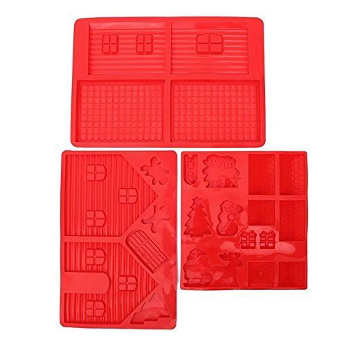 Santa Uses Reindeer (Gingerbread House Silicone Mold Kit - Includes 3 Molds to Create Gingerbread House, Snowman, Tree, Reindeer, Sleigh, Santa Claus, & Present - 3 Piece Set - Red - 14 x 10 x 0.5 inches)