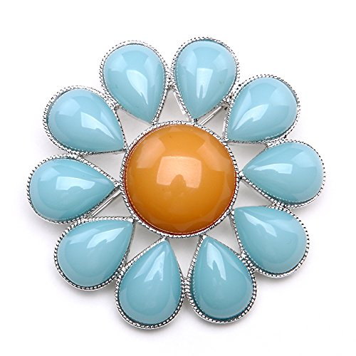 Career 2018 round turquoise Sunflower brooch pin women girls 5011-900139-9031462