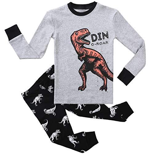 Boy Pajamas Set Long Sleeves Snug-Fit 2 Piece Kid PJS Sets 100% Cotton Toddler Sleepwear (Dinosaur, 3T)