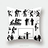 Custom Satin Pillowcase Protector Director Making Filming Movie Production Actor Stick Figure Pictogram Icon Pillow Case Covers Decorative