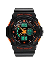 Water-resistant Unisex Digital Watch - 50M Waterproof Dual LED Display (Numeric + Analog) Watch / Fashion Night Vision Watch / Sports Wrist Watchs For Ourdoor Activities,Mountaineering And Swimming - Orange