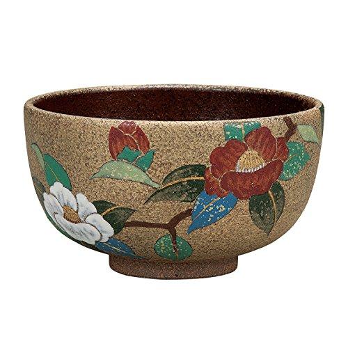 Kutani tea bowl Aya Kon sasanqua by Kutani