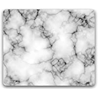 Madanyu Designer Mousepad Non-Slip Rubber Base for Gamers - HD Print - White Marble Dark Grey Veins
