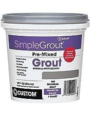 CUSTOM BLDG PRODUCTS PMG165QT QT, Delorean Gray Pre-Mixed Grout, quart