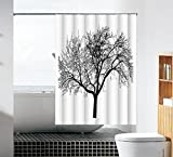 Tree Shower Curtain WoneNice Mold Resistant Fabric Shower Curtain With Tree Background Design,Waterproof/Water-Repellent & Antibacterial,72x72 Inches, White & Black