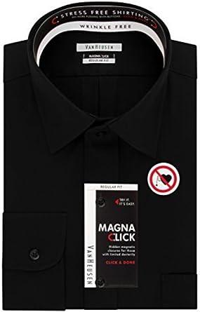 Van Heusen Men S Magnaclick Regular Fit Solid Spread Collar Dress Shirt Black 17 17 5 Neck 34 35 Sleeve At Amazon Men S Clothing Store