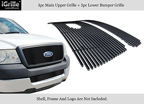 APS Fits 2004-2005 Ford F-150 Honeycomb Style Stainless Black Billet Grille Combo #F67994J