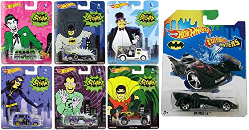 Hot Wheels Batman Pop Culture 6-Car Set with Batman Batmobile Color Shifters Bundle (Homer Simpson Muscle)