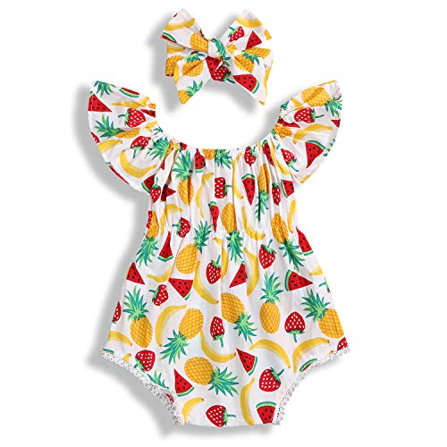 Newborn Baby Girl Summer Romper Clothes Jumpsuit Fruit Print with Headband Clothing Outfit Set (Yellow, 6-12 Months) (Best Fruits For 6 Months Baby)