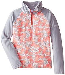 Columbia Big Girls\' Glacial ll Fleece Print Half Zip, Earl Grey Floral/Earl Grey, Small
