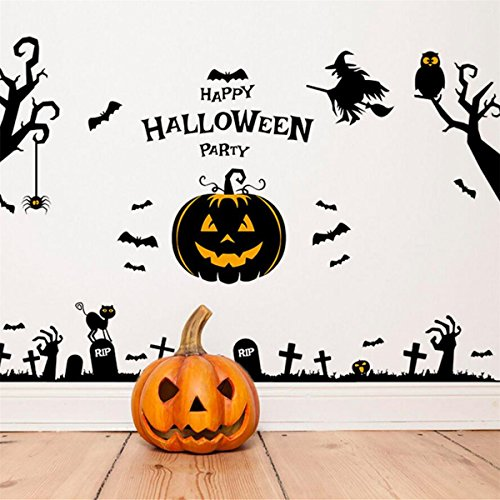 IXIMO Happy Holloween Wall Stickers Witches Castle Bats Pumpkin Tree Mura Decor Removeable Room Decal (Create A Banshee Costume For Halloween)