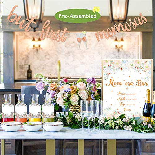 Momosa Bar Sign But First Mimosas Banner Rose Gold Boho Floral Baby Shower Decorations Baby Sprinkle Party Supplies Mother's Day Mommy to Be Brunch Bubbly Bar Mimosa Bar Kit