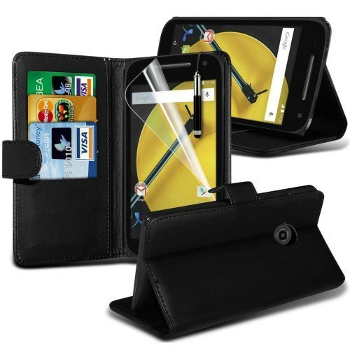 Motorola Moto E 2nd Generation Cubierta del caso con cuero (Negro) Plus de regalo libre, Protector de pantalla y un lápiz óptico, Solicitar ahora mejor caja del teléfono Valorado en Amazon! By FinestP