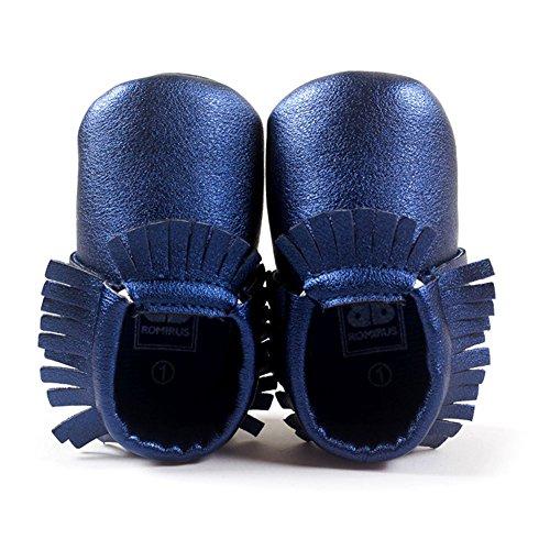 ESHOO bebé niños niñas borla mocasín de piel sintética suave suela zapatos 0–18M azul QL Talla:0-6 meses DL