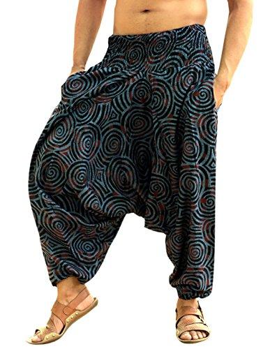 Sarjana Handicrafts Men Women Cotton Harem Pants Pockets Yoga Trousers Hippie (Blue) (Harem Pants For Men)
