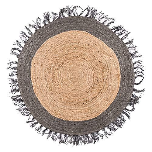 GHGMM Carpet Rug Mat,French Grey Carpet Jute Linen Nordic Round Tassel Bedroom Bedside sisal Floor mat,Turmeric,140140CM
