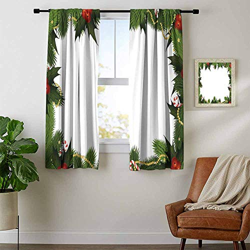 (New Year, Curtains Decoration, Frame Style Garland Pattern Mistletoes Candy Canes and Chain on Fir Tree Motif, Kids Room Artwork 2 Panels Set, W84 x L72 Inch Fern Green Red)