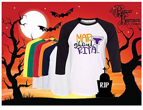 Handmade, Halloween Themed, Raglan, Mar Ghoul RITA, Bella+Canvas, Youth, Womens, Unisex 3/4 Sleeve, Baseball, Tee T shirt, 6 Sleeve Colors, White or Grey]()