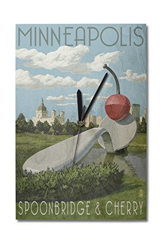 (Lantern Press Minneapolis, Minnesota - Spoon Bridge and Cherry (10x15 Wood Wall Clock, Decor Ready to Hang))