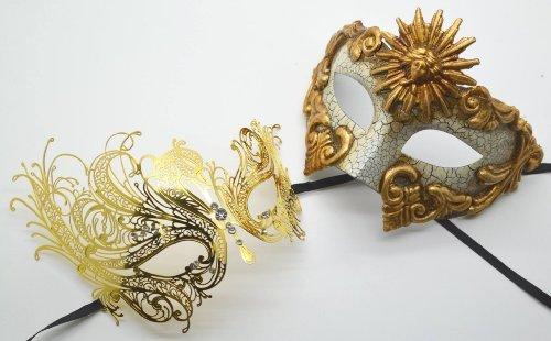 Roman Greek God and Sun Goddess Set - His & Hers Elegant Phantom Masquerade Masks [Antique Gold Themed] - New Year's Eve, Mardi Gras Theater -