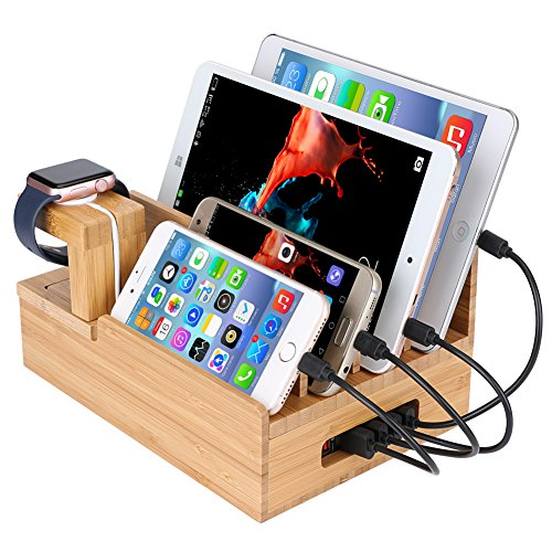 InkoTimes Bamboo Wooden Charging Dock Station - USB Charging Station for Multiple Devices - Perfect for Smart Phone Pad Tablets Home Family Office or Gift Giving (USB Charger NOT Included) ... (Usb Home Phone)