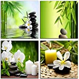 NAN Wind Modern 4 Panel Zen Giclee Canvas Print Wall Art Spa Massage Treatment Pictures on Canvas Wall Art for Home Office Decorations Living Room Bedroom
