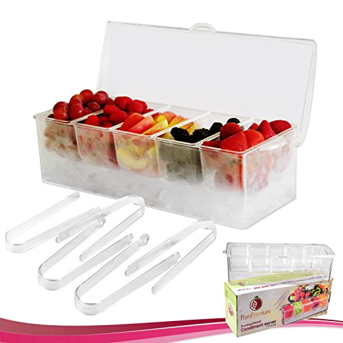 Chilled Condiment Server with 5 Compartments + 5 FREE Tongs I Removable Condiment Containers on Ice Tray Bundle -