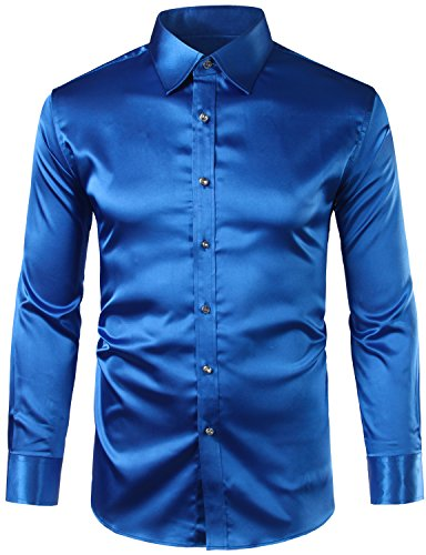 ZEROYAA Mens Regular Fit Long Sleeve Shiny Satin Silk Like Dance Prom Dress Shirt Tops Z6 Royal Blue ()