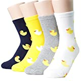 Happy Ducks Socks Women's 4pairs(4color)=1pack Made in Korea Cotton, Multicolored, One Size