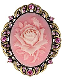 Vintage Inspired Antique Reproduct Rose Pink Crystal Flower Cameo Pin Brooch