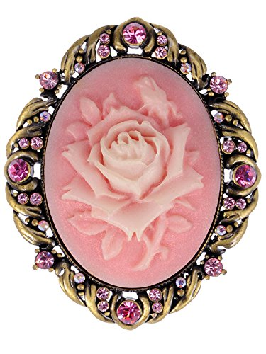 Alilang Vintage Inspired Antique Reproduct Rose Pink Crystal Flower Cameo Pin Brooch, Rose Pink