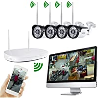 iUcar Wireless Security Camera System 4CH 720P HD Video Security System with 65FT Night Vision and 4pcs Bullet IP Cameras,IP65 WeatherProof,No HDD