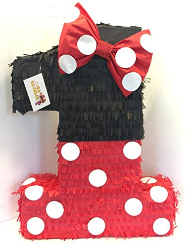 Large Black & Red Number One Pinata with Bow -