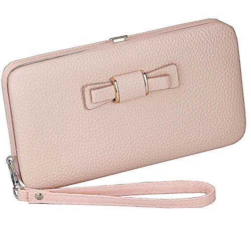 - Litchi Prints Phone Wallet Case for Women Bow Leather Long Clutch Wallet Purse for 6 inch Cellphone Coin Card Pocket Wristlet Handbag (Pink)