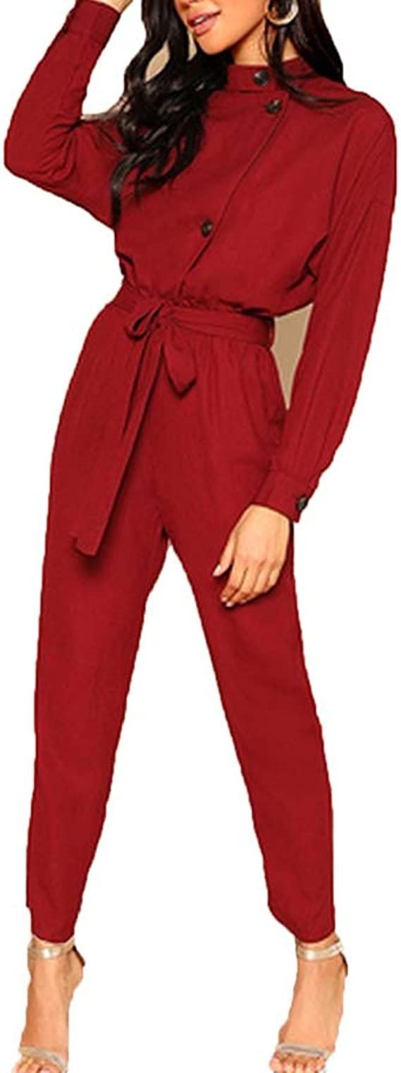 WUISDE Jumpsuit Romper Women Long Sleeve High Waist Elegant Jumpsuits