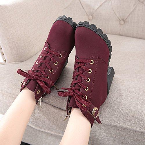 BUIMIN Las Mujeres Zapatos Botas Martin de Fondo Grueso de Tacón Altos, Casuales, Elegante,Cómodo, Talla 35-40, Rojo