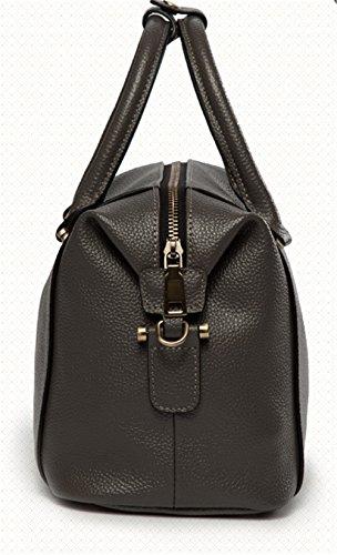Xinmaoyuan Mujer bolsos de cuero Bolsos de cuero Boston hombro Bolsa Bolsa almohada diagonal Gris